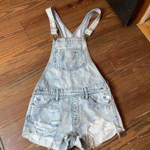 American Eagle denim overalls shirts XS +